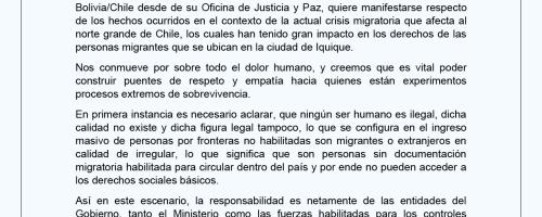 Comunicado sobre la situación migratoria que afecta al País