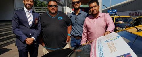 Taxistas de Mall Zofri apoyan campaña contra el delito de trata de personas y tráfico de migrantes.